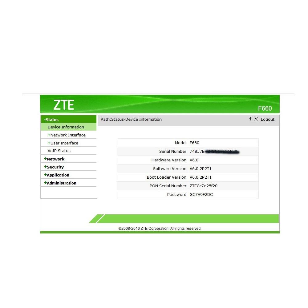 Originele Nieuwe ZTE F660 660 GPON ONU ، التقى 1GE + 3FE وعاء WIFI ،  toepassing المرجع FTTH مودوس ، راوتر Versie 6 0