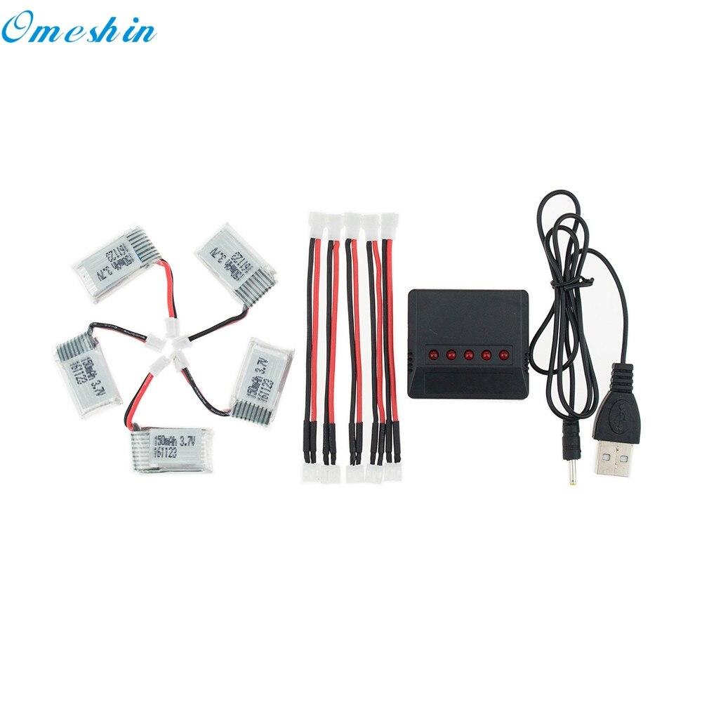 OMESHIN Simplestone 5 stück 3,7 v 150 mah Batterie + 5 in 1 Ladegerät Für JJRC H36 RC Quadcopter 0313