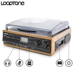 Image 5 - LoopTone 3 מהירות Bluetooth פטיפון ויניל שיא נגן מובנה רמקולים גרמופון AM/FM רדיו קלטת LP USB/ SD מקליט