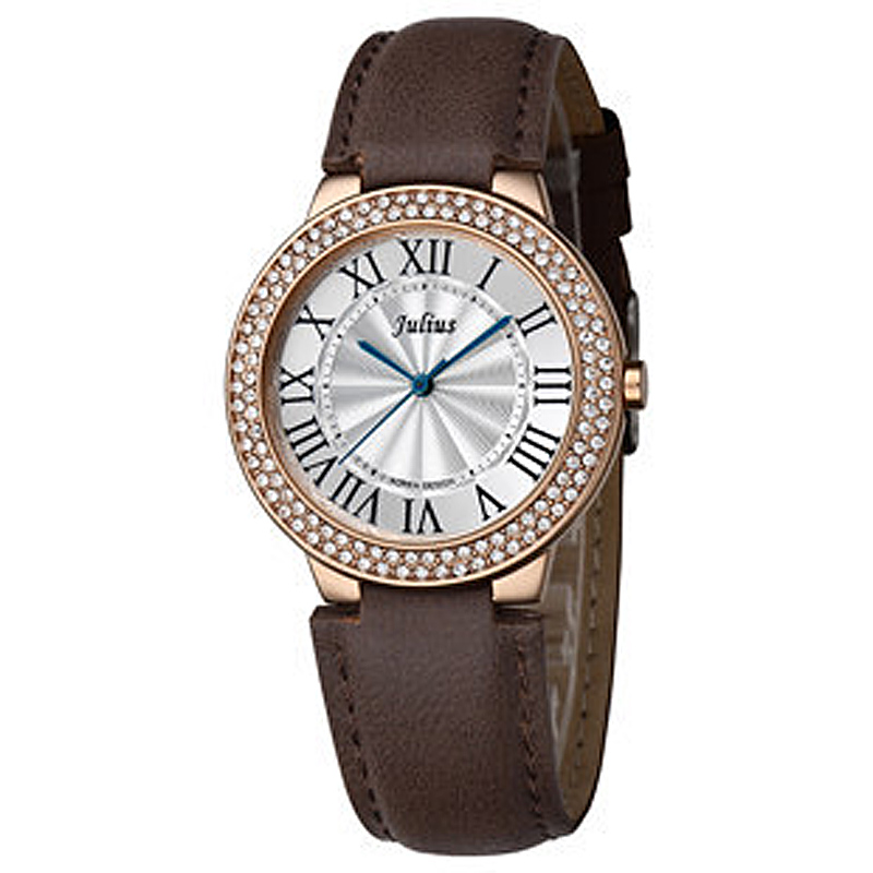 Julius Lady Women's Watch Japan Quartz Hours Fine Fashion Clock Classic Bracelet Leather Rome Rhinestone Girl Birthday Gift Box new simple cutting glass women s watch japan quartz hours fashion dress stainless steel bracelet birthday girl gift julius box