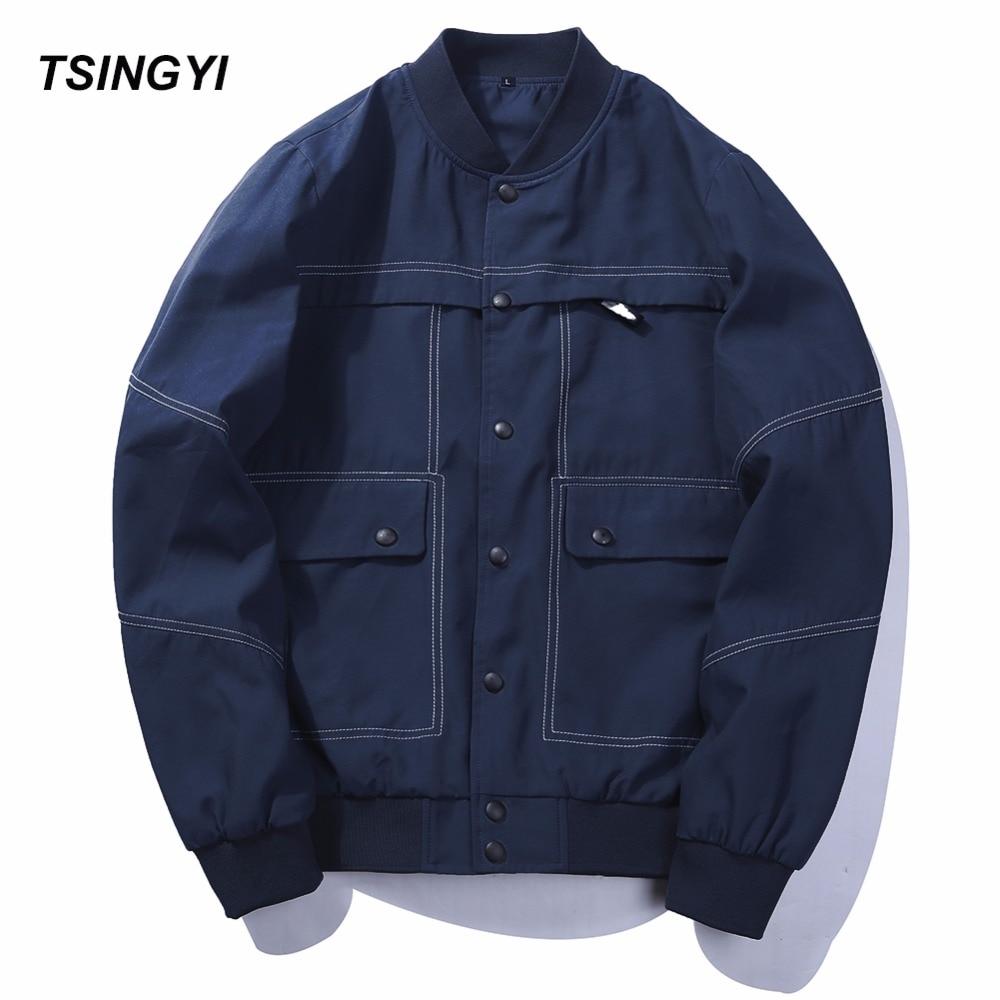 Tsingyi EU Size Autumn Fashion Multi-pocket Black Blue Tactical Jacket Men Long Sleeve L ...