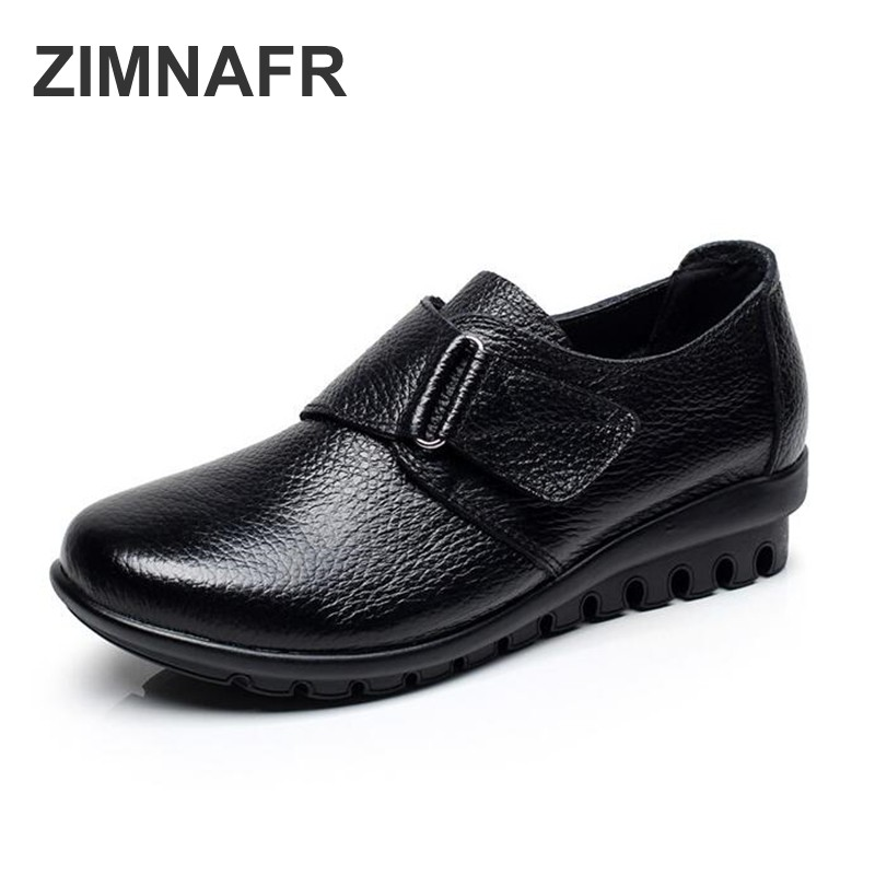 ZIMNAFR BRAND NEW WOMEN FLATS GENUINE LEATHER CASUAL SHOES MATHER COMFORTABLE SOFT SPING SHOES ANTISKID LIGHT SHOES PLUS SIZE aiyuqi 2018 spring new genuine leather women shoes comfortable soft flats women s shoes plus size 41 42 43 shoes women