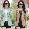 M-3XL Female women short windbreaker jacket 2016 new Korean casual plus size women spring&autumn Double-breasted coat 8 colors
