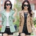 M-3XL de las mujeres Femeninas corto chaqueta rompevientos 2016 nueva Corea casual mujeres de talla grande de primavera y otoño de Doble Botonadura abrigo de 8 colores
