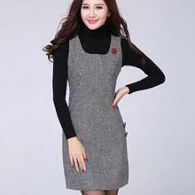 Женское осеннее клетчатое шерстяное платье больших размеров 10%, женское облегающее теплое платье выше размера d без рукавов длиной до колена