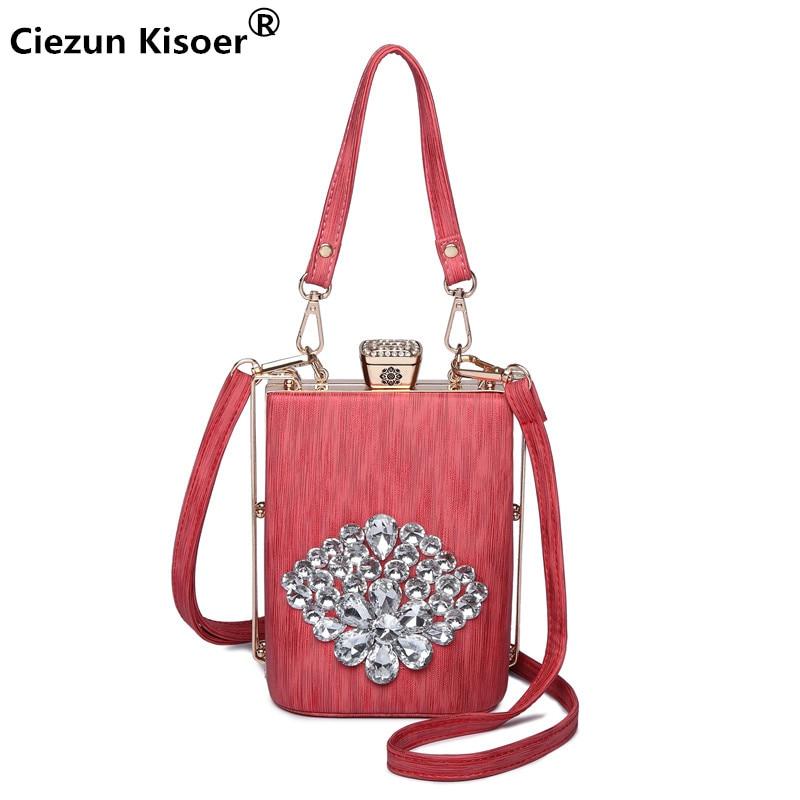 Ciezun Kisoer luxury handbags women bags designer 2018 New Diagonal Pouch Sweet Fashion Diamond Flower Shoulder Bag clutches все цены