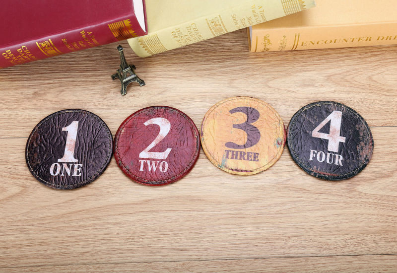 LINKWELL Set of 4 10x10cm Vintage Number Black One Figure Round Kitchen Tabletop Bar Coaster Table Cup Holder Drink Placemat Mat