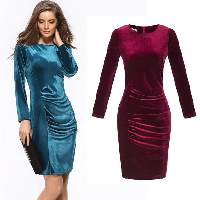 777d53d0d8fdc8 HOOYI femmes 2019 automne bureau robe grande taille moulante velours robes  crayon