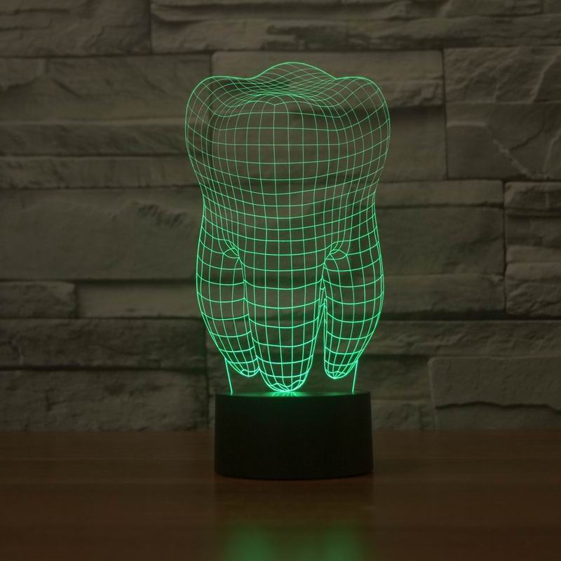 New 3D illusion creative decorative night lamp tooth shape diy - Night Lights - Photo 3