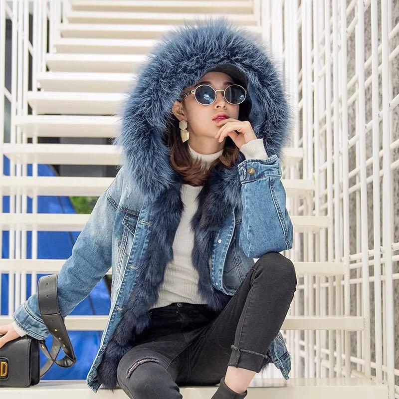 2017 New Denim Coat Winter Real Fox Fur Jacket Women Natural Raccoon Fur Collar Hood and Real Fox Fur Liner Parka Denim Jacket