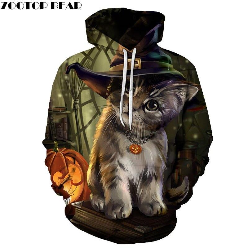 Halloween Cat 3D Printed Hoodie Men Women Sweatshirt Hooded Tracksuit Fashion Pullover Hoody Streetwear Spring Coat Dropship New