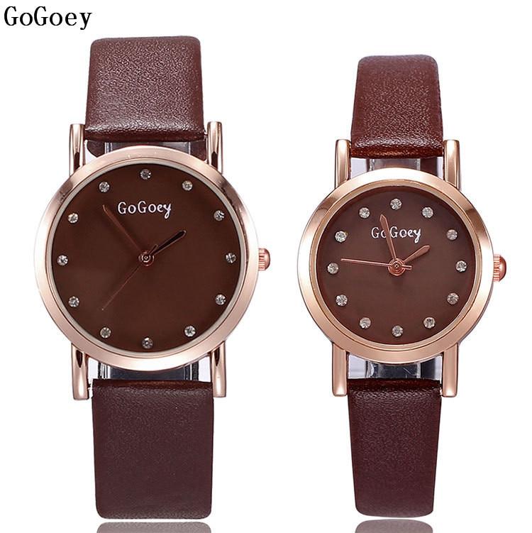 Hot Sales Gogoey Brand leather pair watch men women couple fashion dress quartz wristwatch GO021