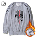 HanHent Creative Horse Sweatshirts Men's Autumn Winter Thick Fleece Round Collar Streetwear Clothes Animal Printed Hoodies Boys