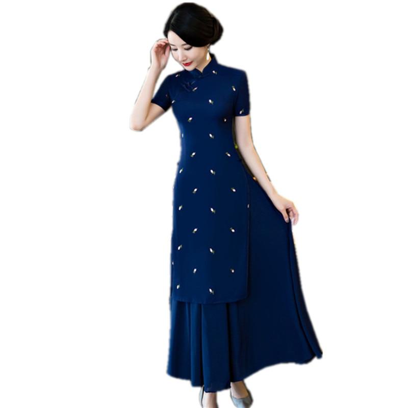Navy blue Aodai Qipao dress Chinese Style Women Cotton Linen Mandarin Collar Slim Cheongsam Floral Dresses Size S M L XL XXL inc new navy blue women s size 16 gathered hem linen capri cropped pants $69