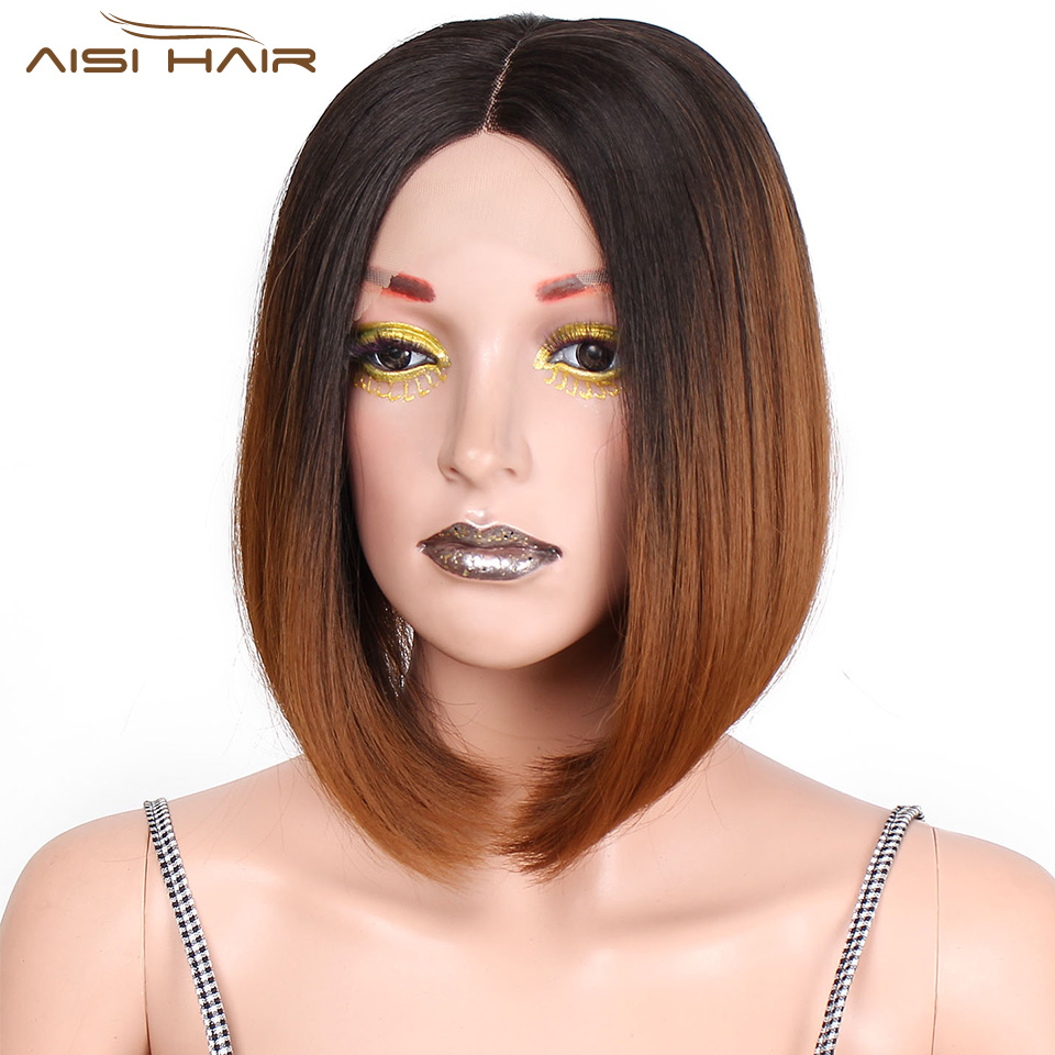 I's A Wig Short Ombre Brown Synthetic Front Lace Wigs 12 Inch Bob Straight Wig Middle Part High Temperature Fiber Hair For Women