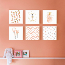 Nordic Kawaii Pink Swan Princess Balloon Feather Childrens Room Canvas Painting Art Print Poster Picture Wall Bedroom Home Deco