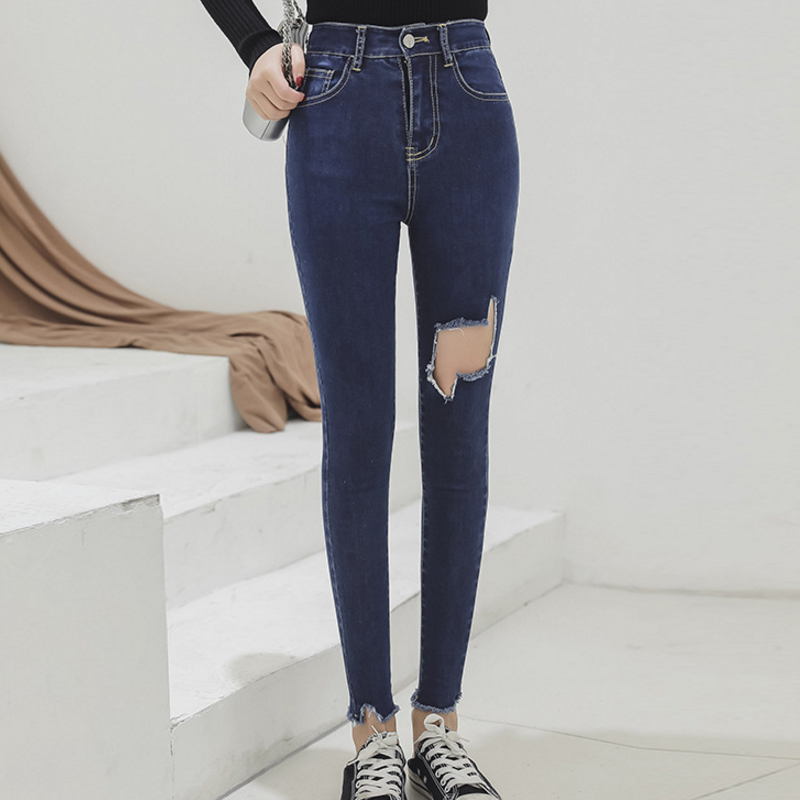 Black Ripped Skinny Denim Jeans Summer Women Casual Button Fly High Waist New Style Trousers Female Fashion Pants Plus Size 5XL