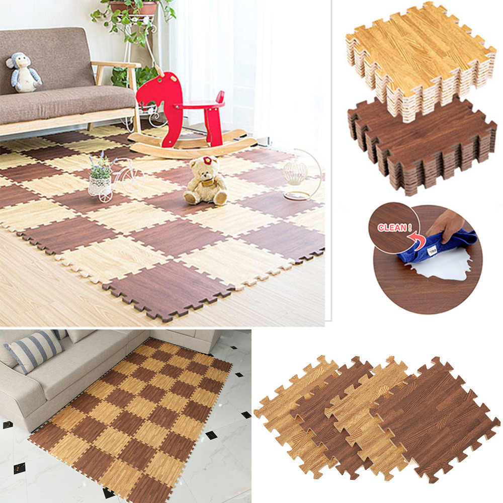 Rubber floor mats baby - 1pcs 11 8x11 8inch Eva Foam Floor Mat Faux Wood Grain Ground Cushion Soft Baby