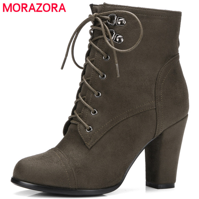 MORAZORA 2020 New arrive hot sale ankle boots for women fashion handsome high heels shoes woman