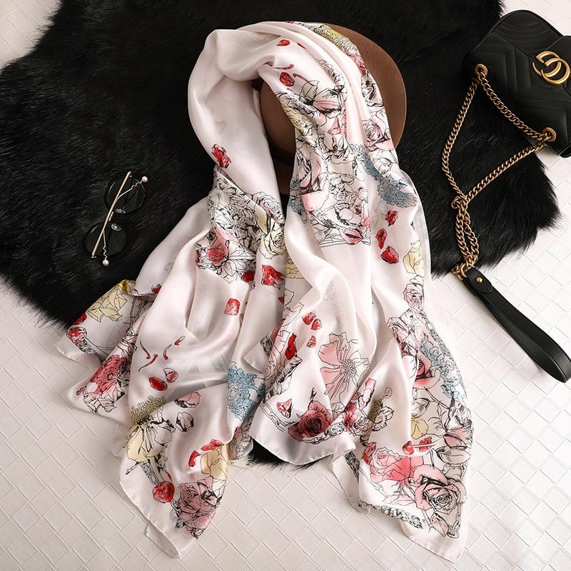 New Fashion Women Flower Printed   Scarf   Long Size Shawls Silk   Scarves     Wrap   Bandana Ladies Hijab Female Thin   Wraps   Bandana