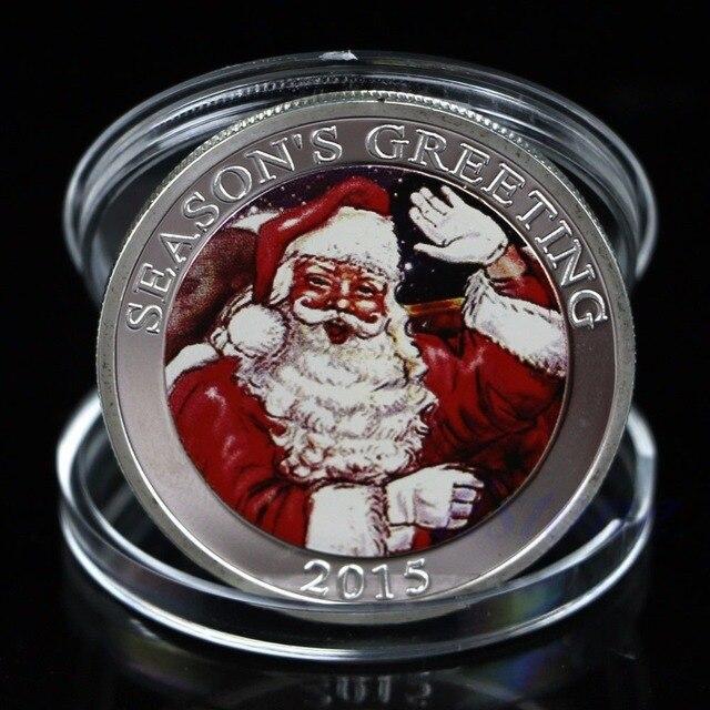 Regalo de colección de monedas conmemorativas de Santa Claus Feliz Navidad Chapado en plata