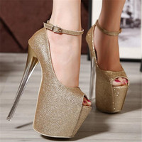 2019 16cm Ladies Thin Heels Pumps Platform Sexy Open Toe High Heels Shoes Woman Wedding Party Shoes