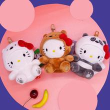 1 Pc cute We Bare bears Plush keychain Cartoon Pendant Stuffed Animals hello kitty Turned To Bear Plush Toy for Kids Gift