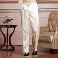New Arrival Beige Chinese Men Satin Tai Chi Pants Kung Fu Wu Shu Trousers Elastic Waist Pants S M L XL XXL XXXL 2519-2