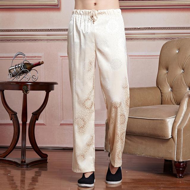 Nueva Llegada Beige Hombres Chinos Satén de Tai Chi Kung Fu Wu Shu Pantalones Pantalones Elásticos de La Cintura Sml XL XXL XXXL 2519-2