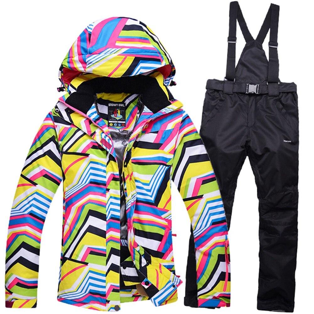 Prix pour Femmes Costumes de Ski D'hiver En Plein Air Thermique Ski Veste de Neige Pantalon Imperméable Coupe-Vent Femme Snowboard Mountaineer Veste Costumes