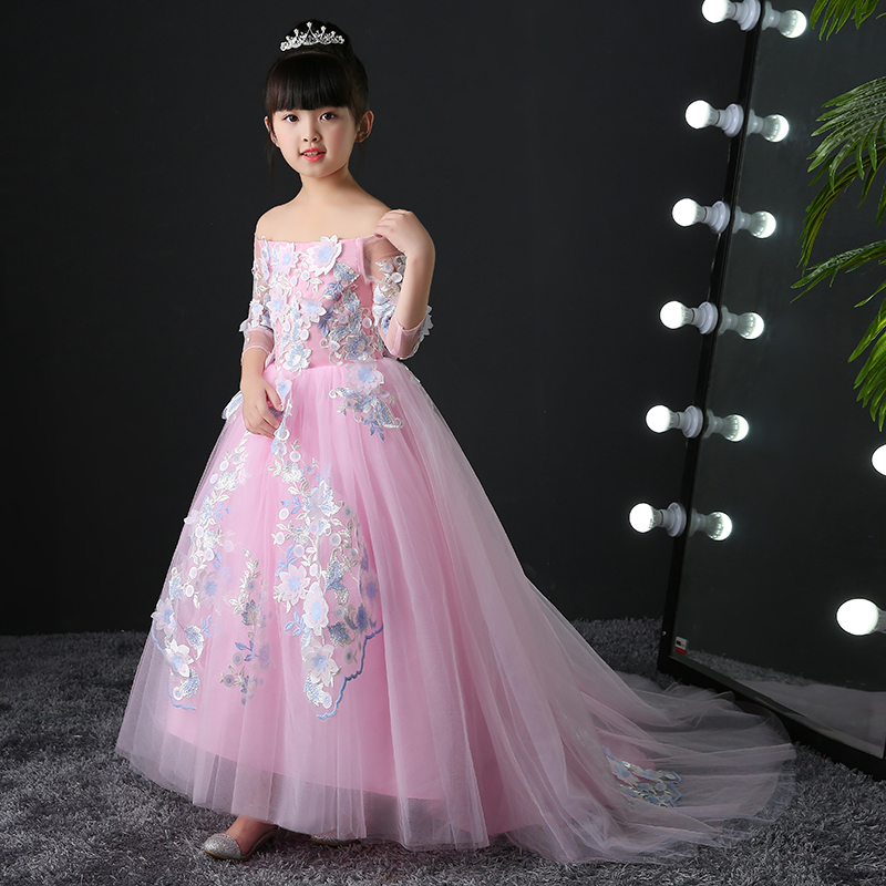 Exquisite Lace Appliques Girl Wedding Dress Pink Tulle Ankle Length Kids Birthday Party Prom Gress First Communion Dresses 3-15T встраиваемый светильник novotech vetro 369917