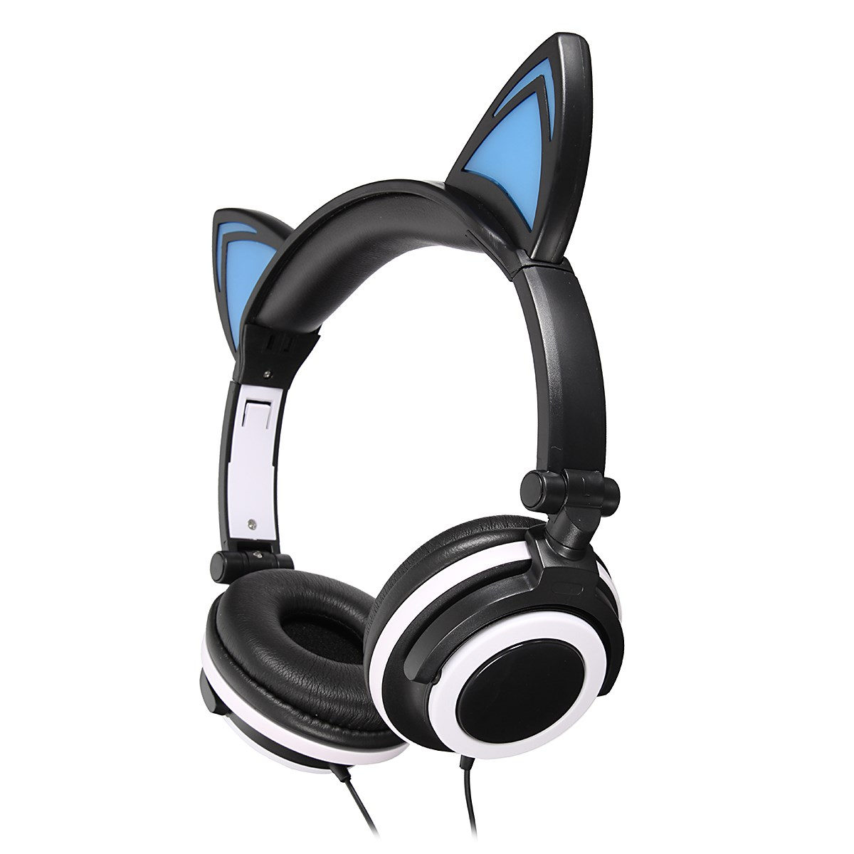 LEORY New Foldable Flashing Glowing Headphones Cat Ear Gaming Headset Earphone With LED Light For PC Laptop Computer Mobile Phon high quality sound effect gaming headset with led light over ear glowing stereo headphones with mic for computer pc laptop gamer