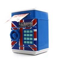 1pcs Hight Quality ATM Bank Money Saving Box Blue Password Box Piggy Bank Safe Locks Smart