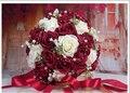 2017 30 Unidades Flores Romántico Barato Borgoña/Vino Rojo Nupcial Hecho A Mano Rosa Artificial de La Boda de dama de Honor/Dama de Honor Ramos