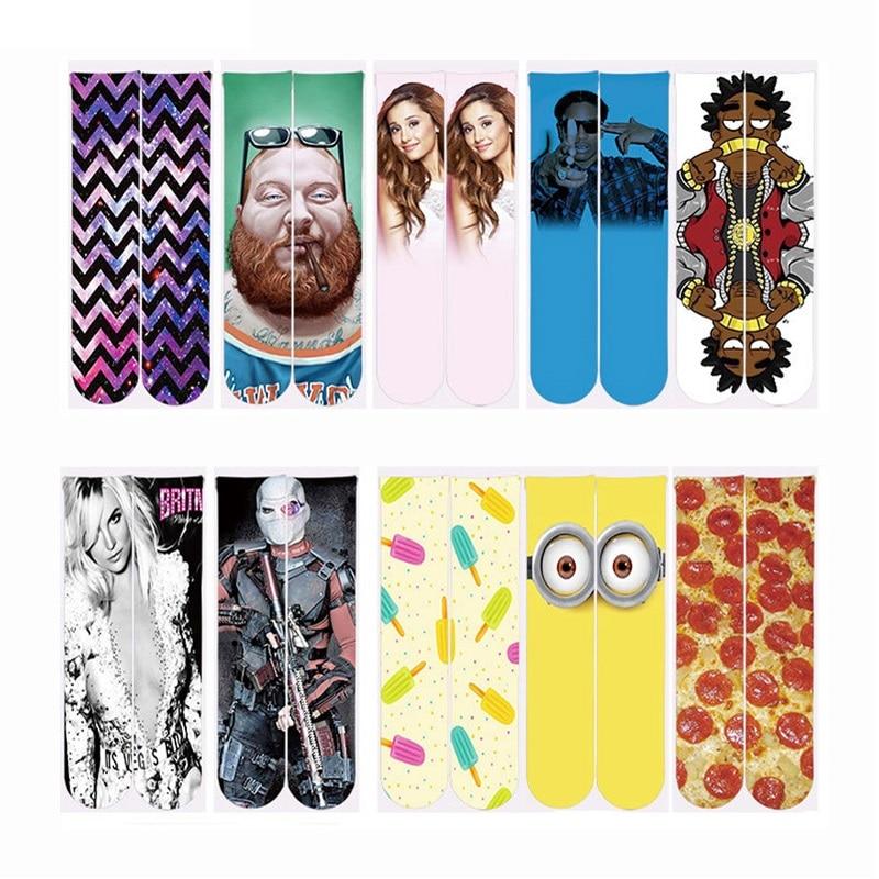 1 Pair Women/Men Casual Ankle Socks 3D Fashion Cute Minions Pizza Printed Sock Polyester Cotton Socks Unisex Short Funny Socks