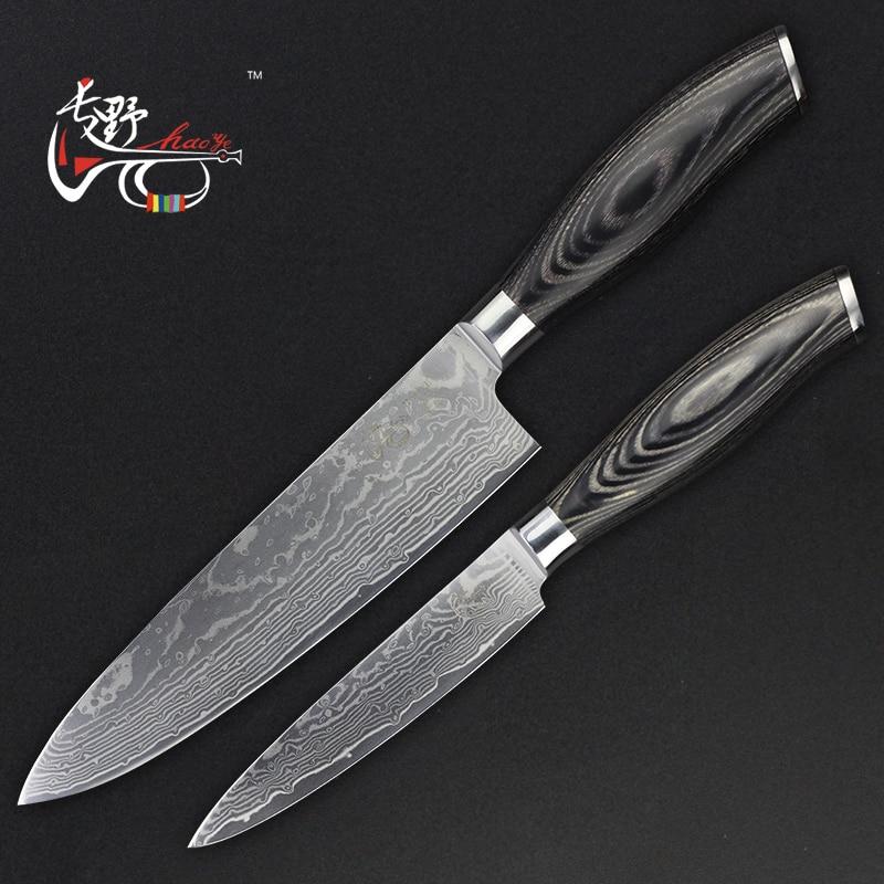 HAOYE 2 st damaskus köksknivar sätta verktyg santoku kniv fisk - Kök, matsal och bar