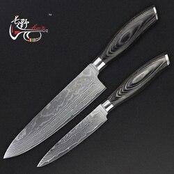 HAOYE 2 pièces couteaux de cuisine damas ensemble utilitaire couteau santoku poisson Hachoir À viande outil de cuisine manche en bois de couleur cadeau de mode NOUVELLE