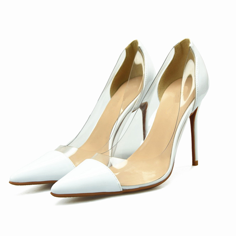 2018 Women Transparent Pump 6/8/10CM Stiletto High Heel Genuine leather Wedding Dress Shoes Pointed Toe Slip-on Shallow Pumps 2018 women yellow high heel pumps pointed toe metal heels wedding heel dress shoes high quality slip on blade heel shoes