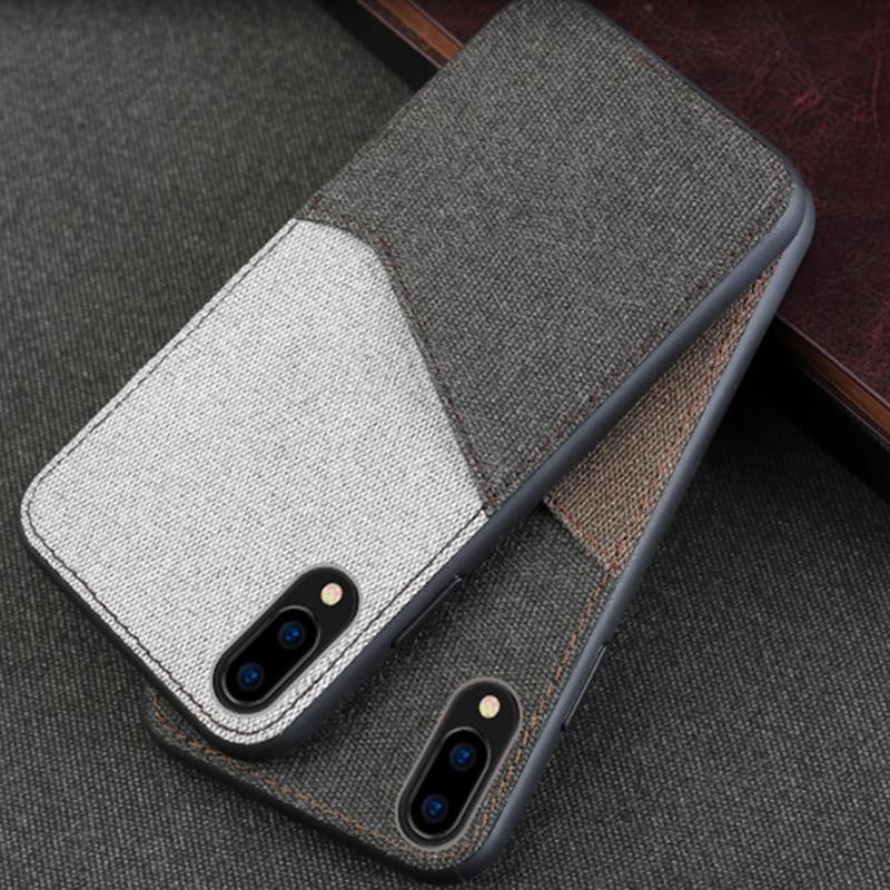 Canvas Phone Case For Vivo NEX X9 X9s X20 X21 Plus Case Soft TPU Edge Color Stitching Card Slot Design Back Cover