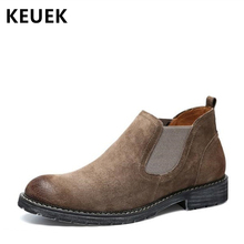 Men Ankle boots Split Leather Slip-On Chelsea Boots British style Outdoor boots Male High-top shoes Tooling boots 02C pinsv british style mens chelsea boots elegant slip on men ankle boots pu leather trendy casual shoes men size 39 44