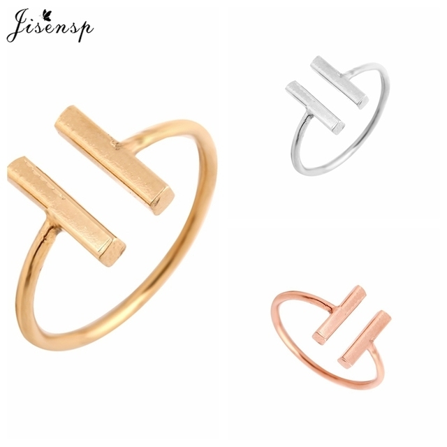 Jisensp 2018 New Fashion Classic Double Bar Rings for Women Engagement Simple Adjustable Rings Nice Gift Geometric Open Ringe