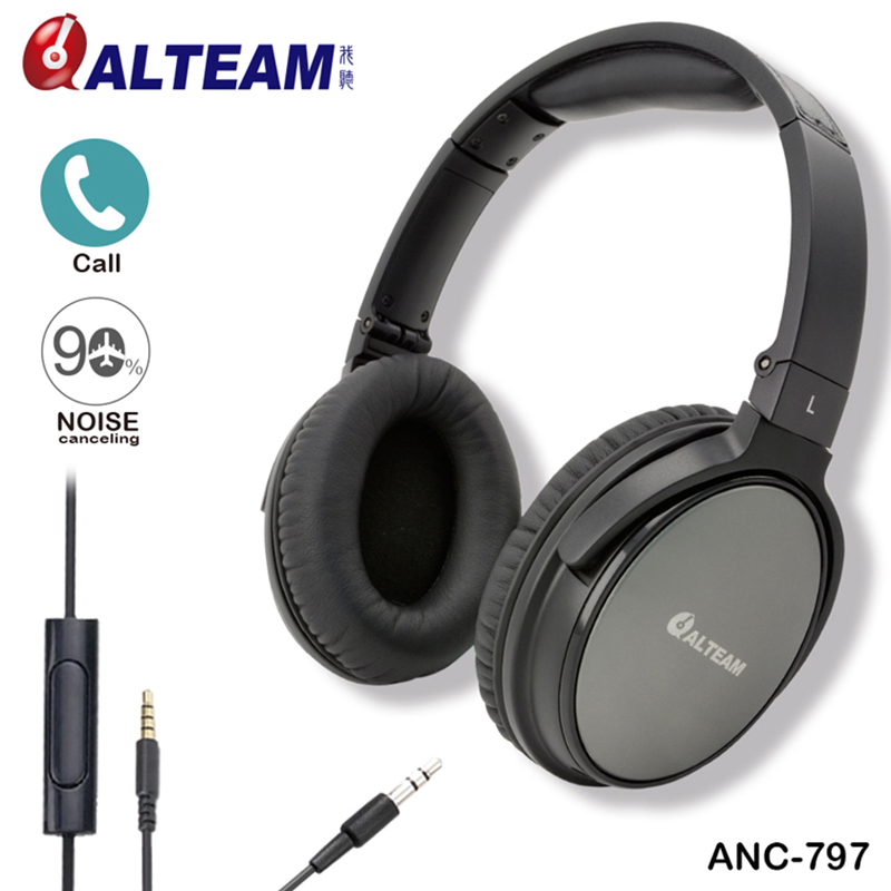 Luxury ALTEAM Brand Genuine Over The Ear Sound Cancelling Headset Headphone Headphones with Active Noise Cancellation anc wireless bluetooth headphones active noise cancelling folable headset with rotal design over ear headphone fone de ouvido