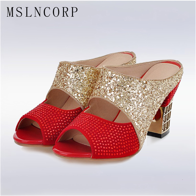plus size 34-43 Fashion Summer Women Party Slippers Bling Extreme High Heels Peep Toe Slides Dress Ladies Shoes Sandals Pumps