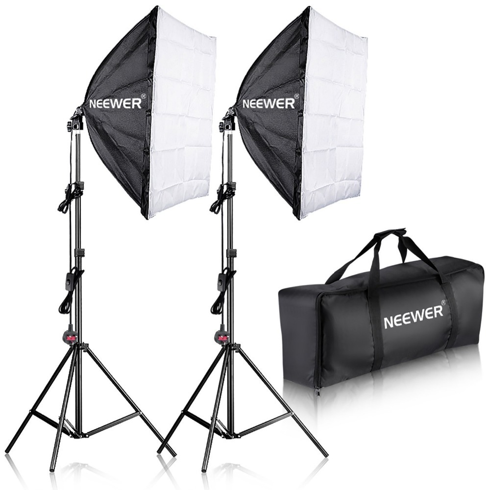 Neewer 700W Photography Softbox with E27 Socket Light Lighting Kit for Photo Studio Portraits,Photography and Video Shooting 1pc 150w 220v 5500k e27 photo studio bulb video light photography daylight lamp for digital camera photography