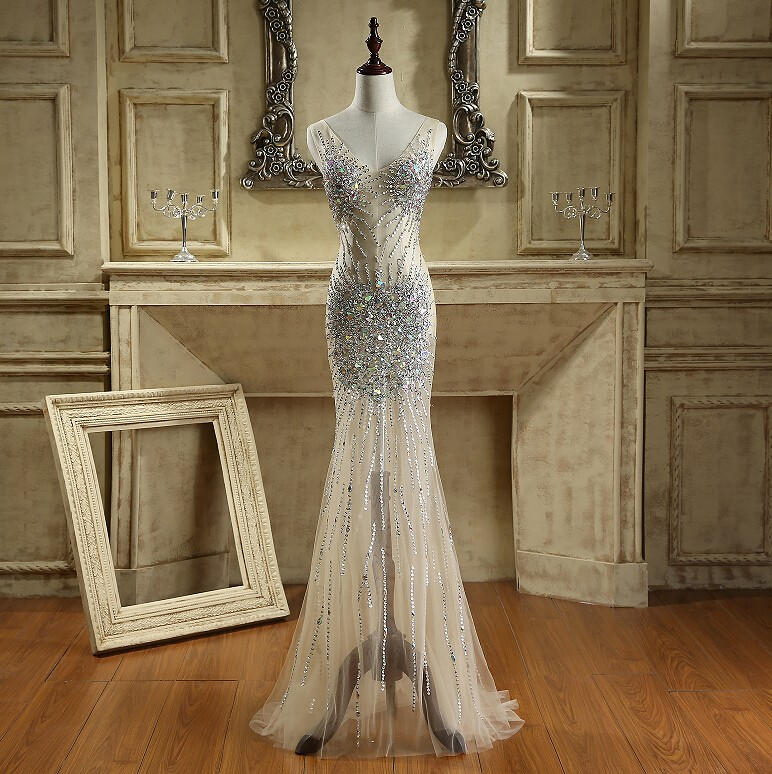 Sexy Sparking Crystal Beaded Mermaid   Prom     Dresses   Luxury Rhinestones See through Long Tulle Formal Celebrity Evening Gown 2017