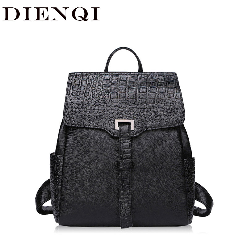 2018 Crocodile Pattern Genuine Leather Women Backpack Female School Bags for Teenage Girls Teen Backpack Laides sac a dos femme стоимость