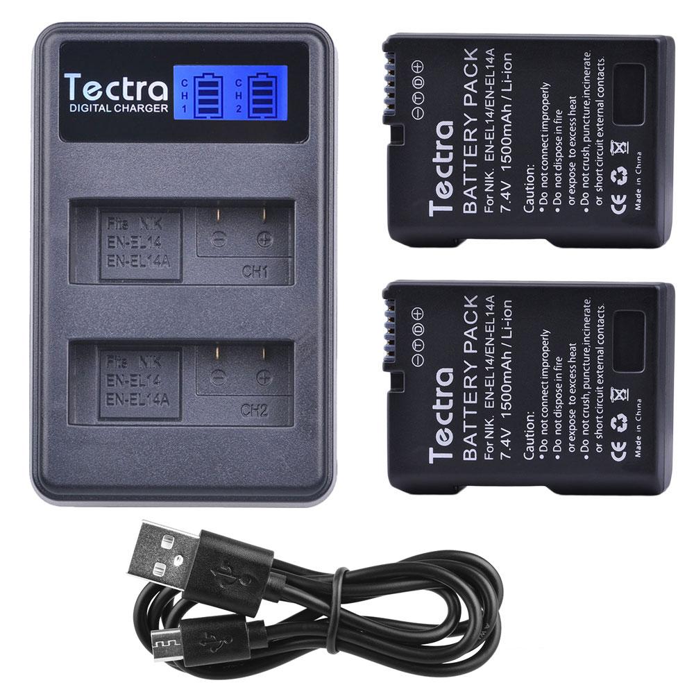 1500 mAh 2x EN-EL14A EN-EL14 ENEL14 batería + LCD USB cargador Dual para Nikon D3100 D3200 D3300 D3400 D3500 D5600 d5100 D5200 P7000
