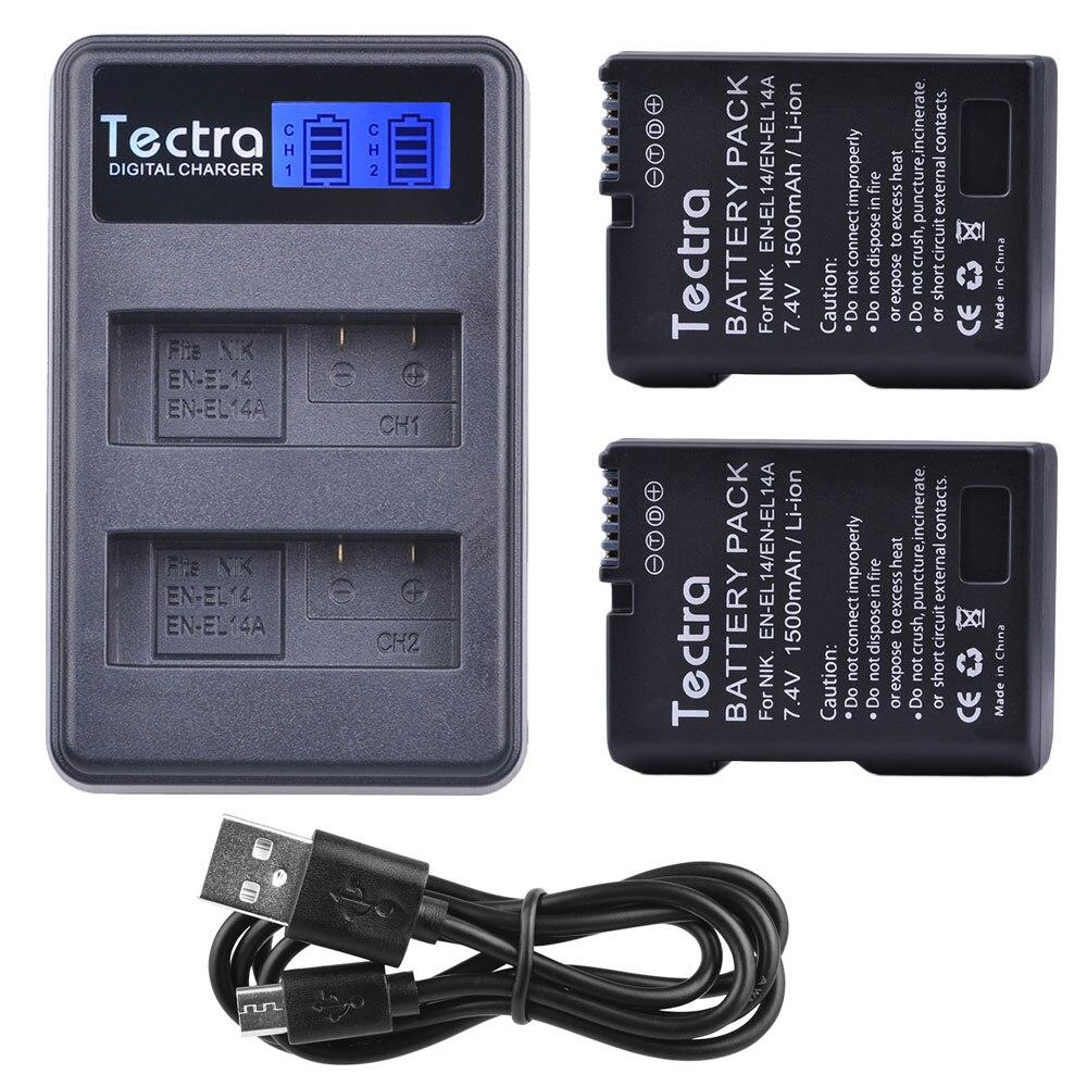 1500mAh 2x EN EL14A EN EL14  ENEL14 Battery+LCD USB Dual Charger for Nikon D3100 D3200 D3300 D3400 D3500 D5600 D5100 D5200 P7000-in Digital Batteries from Consumer Electronics