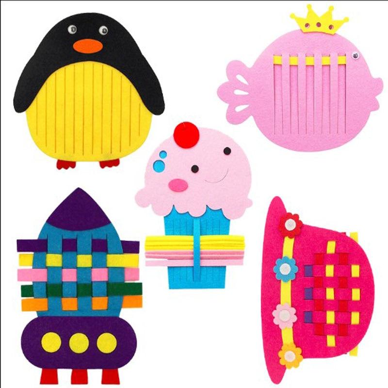 Brand New Cartoon Rocket Fish Icecream Hat Owl Pengiun Felt Children handmade Nonwoven Decoration DIY Felt Package