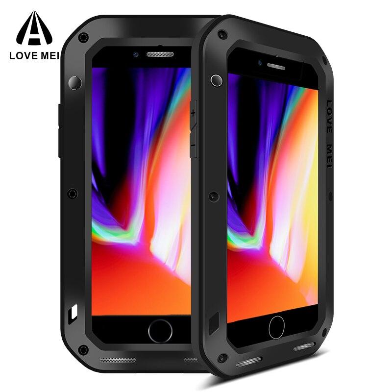 AMORE MEI Cassa di Alluminio Del Metallo Per il iphone 8 8, Più Copertura Potente Armatura Antiurto Vita Custodia Impermeabile Per il iphone 8 8 più Coque